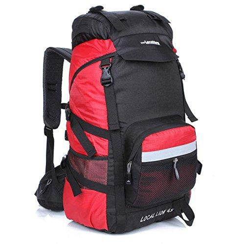 Bergsteigen, Latex, 45 l Wandern camping Rucksäcke große Kapazität Rucksack Tasche Red