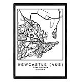 Drucke Stadtplan Newcastle (aus) im skandinavischen Stil in