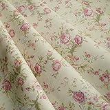 Crema & rosa floreale tessuto cotone popeline stampa in stile vintage–venduto al metro