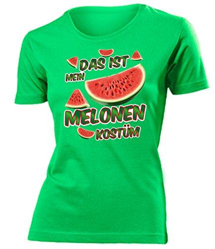 Melonen Kostüm Kleidung 4981 Damen T-Shirt Frauen Karneval Fasching Faschingskostüm Karnevalskostüm Paarkostüm Gruppenkostüm Grün XL