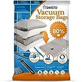 Savisto Vacuum Storage Bags [Pack of 8] with Hand Pump, Reusable Storage Bags
