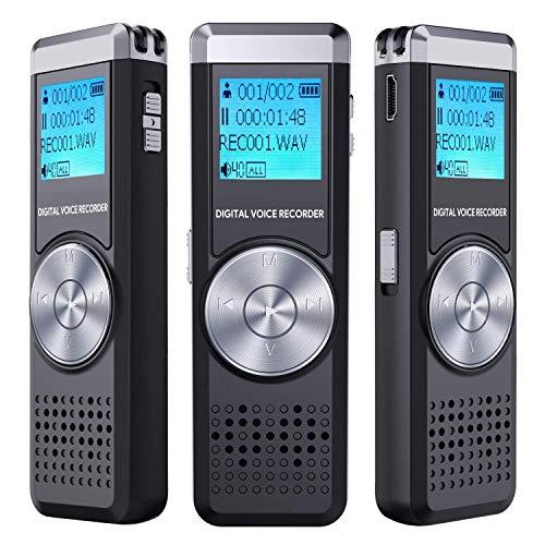 Digitales Diktiergerät,TENSAFEE 8GB Diktierapparat Tonaufnahmegerät,HD Audio Recorder,MP3-Player/A-B-Wiederholung/One-Touch-Aufnahme,Sprachrekorder für Vorträge/Meetings/Interviews (8G)