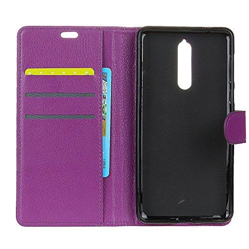 Klassische Litchi Texture PU Leder Schutzhülle Horizontale Folio Flip Stand Case Cover mit Kartensteckplätzen für Nokia 8 ( Color : Black ) Purple