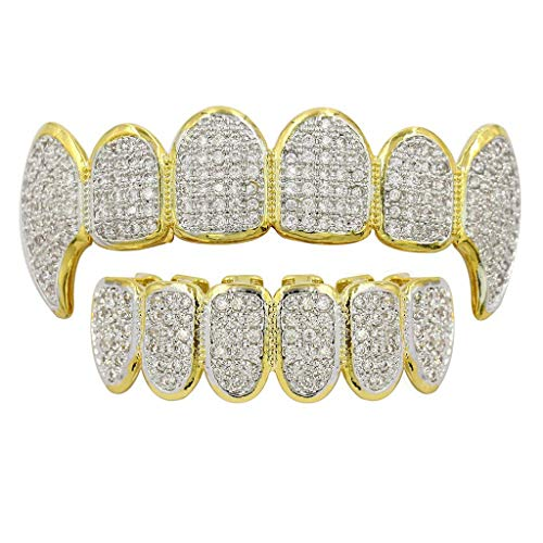 VIccoo Gold Silber Strass Vampire Grillz Set mit zusätzlichen Silikonstangen enthalten - B#
