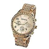 Damen Armbanduhr Traumzimmer Geneva Women Fashion Luxury Crystal Quartz Watch Quarz Analog Digital Klassisch Flach Wasserdicht Quarzuhr Clock Casual Uhren Cluse Armband (Gold)