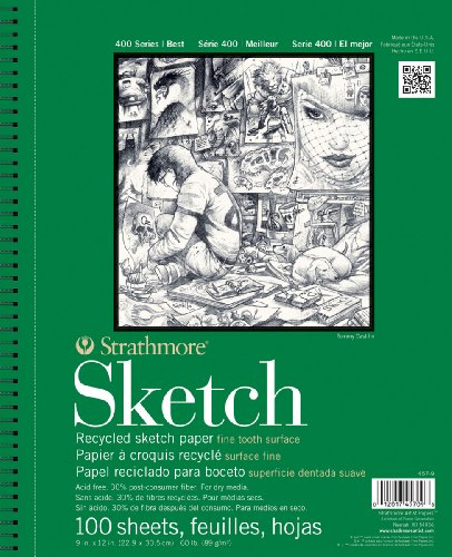 Strathmore Artist Serie 400 Papers Recycling Sketch Pad-Oberfläche fnes Zähne, 9