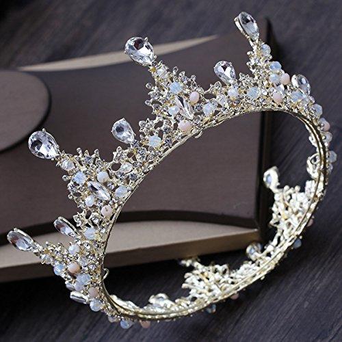 MDRW-Bridal Hochzeit Ballsaal Haarnadel Haarschmuck Die Prinzessin Die Runde Krone Das Brautkleid...