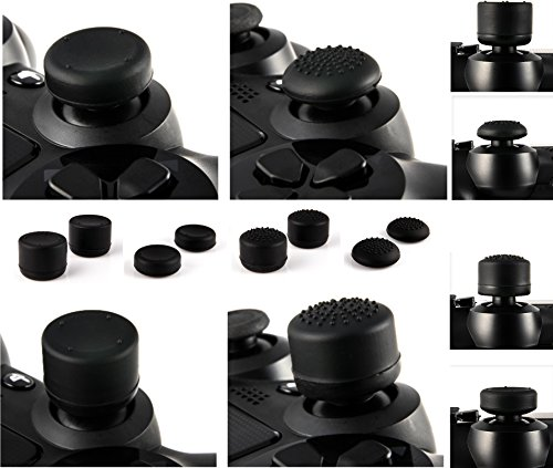 Price comparison product image GNG 8 x Soft Rubber Thumb Grips Black Thumbstick Joystick Extra High Enhancements Cover Caps Skin For Sony Play Station 4 PS4 PS3 Xbox 360 XBOX One