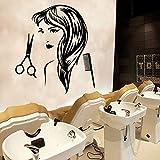 zqyjhkou Salon de Coiffure Decal Haircut Femme Vinyle Stickers Muraux Salon de Coiffure Amovible Mural Art pour Barbier Décoration Accessorises Papier Peint L 43 cm X 60 cm