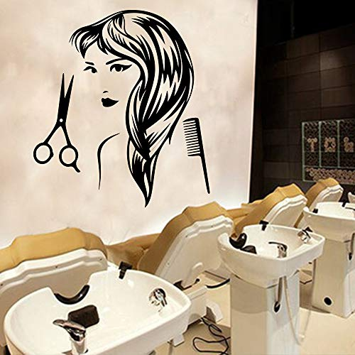 zqyjhkou Friseur Aufkleber Haarschnitt Frau Vinyl Wandaufkleber Friseursalon Removable Art Für Friseur Dekoration Accessorises Tapete XL 58 cm X 81 cm