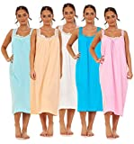Apparel Ladies Plain Nightdress 100% Cotton V Neck lace Strap Long Nightwear M to 3XL