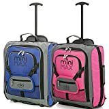 MiniMax Childrens /Kids Luggage Carry On Trolley Suitcase with Backpack and Pouch for your Favourite Doll/Action Figure/Bear (Blue + Pink)