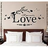 All You Need Is Love, vinilo de pared Arte Mural de adhesivo, Dormitorio, Salón, 80cm de ancho x 40cm de alto, negro, 80cm width x 40cm height