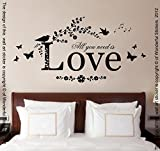 All You Need Is Love, vinilo de pared Arte Mural de adhesivo, Dormitorio, Salón, 80 cm de ancho x 40 cm de alto, negro, 80cm width x 40cm height