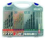 Bohrer / Schraubset Kit 30 | Hartmetall Bohrer für Stein, universeller Mauerbohrer / Sprint Master Spiralbohrer mit scharfen Schneiden / HSS-Maschinen Holzbohrer, punktgenau | 30 Teile