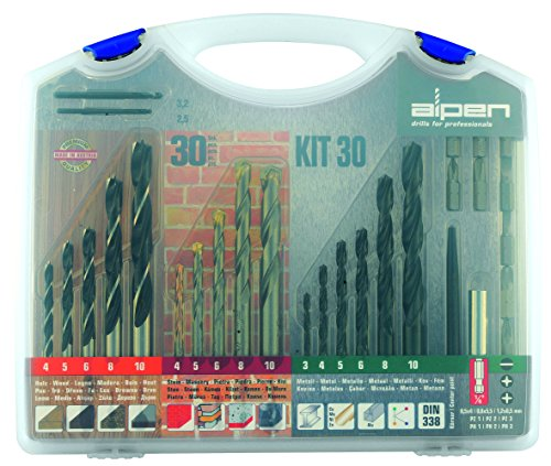 alpen HSS Sprint Spiralbohrer, Hartmetall-Steinbohrer Long Life, Maschinen-Holzspiralbohrer, Blechbohrer als 30-teilig Set Kunststoffkoffer, 800230100