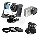 Phot-R The Frame Mount Housing Shell with Cover + Tripod Adapter for GoPro Hero 3 3+ 4