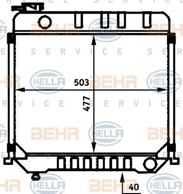Preisvergleich Produktbild Hella 8MK 376 709-391 Kühler,  Motorkühlung
