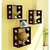 Onlineshoppee Square Nesting Wooden Wall Shelf Size(LxBxH-10x3.5x10) Inch AFR1364