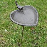 Vogeltränke aus Gusseisen Herz mit Spatz Futterschale Vogelbad Wasserschale