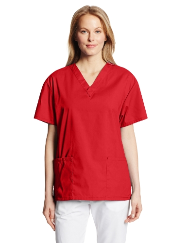 Scrub 4x Tops (Dickies Women's EDS Signature Scrubs Missy Fit V-Neck Top, Red, 4X-Large)