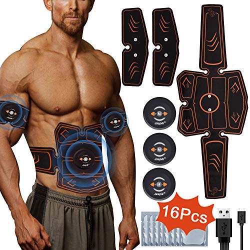 Jaspik EMS Elektrische Muskelstimulation, EMS Bauchmuskeltrainer USB Aufladen Fettverbrennung Massage-gerät Home Fitness Machine leicht zu tragen für Mann Damen Geschenk(8 Pads) (8 Pads)