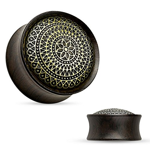 Piercing plug lattice en bois ebony Taille 16 mm