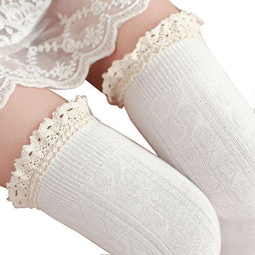 CAT1-RHD Femmes Genou Chaussettes Sexy Dentelle Cuissardes Longues Chaussette Haute Jambiere Socks (Blanc)