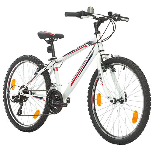 BIKE SPORT LIVE ACTIVE 24 Zoll Bikesport Rocky Kindefahrrad, Shimano 18 Gang (Weiß matt)