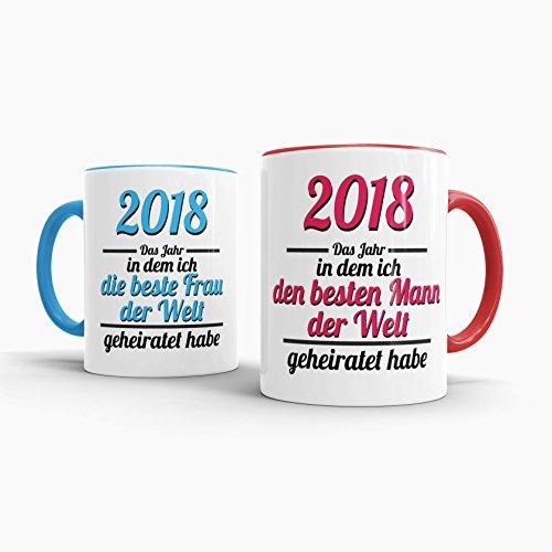 Tassendruck Partner-Tassen Besten Mann, Beste Frau geheiratet/2018/Liebe/Ehe/Hochzeits-tag/Geschenk-idee/2er Set/Innen & Henkel Rot und Hellblau