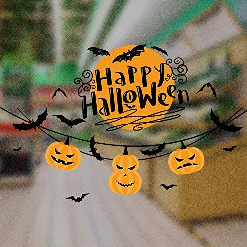 XCGZ Wandsticker Kürbis Licht Halloween Wandaufkleber Wohnzimmer Fenster Dekoration Aufkleber Doppelseitige Visual