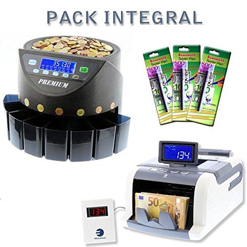 Ofertas especiales:Pack integral con contador de billetes, de monedas y 3rotuladores detectores de billetes falsos, color Premium_BD