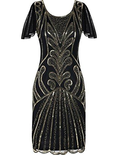 Kayamiya 1920er Jahre Flapper Kleider mit Ärmeln Pailletten Art Deco Cocktail Gatsby Kleid 44-46...