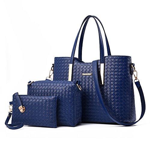 Damen Handtasche, Mode PU Lackleder Tasche mit Alligator Muster, 3-teiliges Set mit Crossbody Tasche und Geldbeutel/ Leder Handtasche + Schultertasche + Geldbeutel 3pcs Beutel Blau (4 Stück Leder-set)