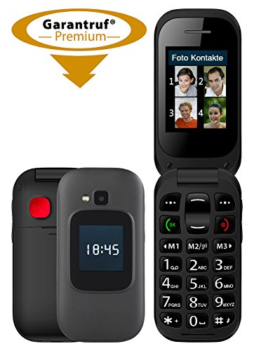 Simvalley Mobile Handy: Notruf-Klapphandy, Garantruf Premium, 2 Displays, Hörgeräte-kompatibel (Notrufhandy)