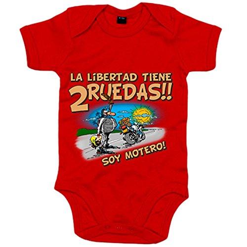 Body bebé la libertad tiene dos ruedas soy motero - Rojo, 6-12 meses