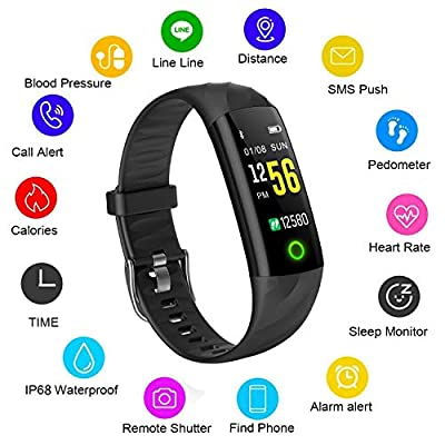 Fitness tracker LIGE waterproof color screen Smart bracelet heart rate blood pressure monitoring sports watch calorie burning counter sports pedometer men and women sports bracelet for Android iOS mobile phone by LIGE