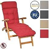 Beautissu Auflage für Deckchair Flair DC 200x50x8 cm Liege-Stuhl Polster-Auflage mit Schaumflockenfüllung Rot