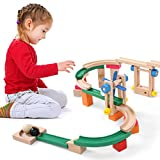 Infantastic Holz Kugelbahn Marble-Run Set inkl. 46 Bunte Teile und 3 Kugeln zur Frühförderung von Motorik, Logik und Kreativität für Kinder ab 3 Jahren | Murmelbahn DIY Bausteine Lernspiel-Spielzeug
