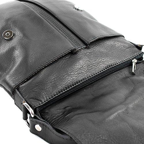 modamoda de ital. Borsa a tracolla Messenger signore borsa grande in pelle T75 Schwarz