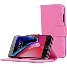 iPhone 7 Plus Case, Snugg Hot Pink Leather Flip Case [Card Slots] Executive Apple iPhone 7 Plus Wallet Case Cover and Stand [Lifetime Guarantee] - Legacy Series