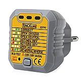 Rilevatore di Presa di Corrente Tester ,Tacklife EST02 con GFCI(Protezione differenziale di dispersione verso terra)   per Circuiti Elettrici Misuratore di Polarità Tester Neutro e Terra 1 Pezzo