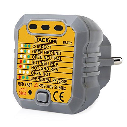 Preisvergleich Produktbild Tacklife -EST02 Advanced Steckdosen Tester Automatischer Stromkreis-Detektor Polaritätsprüfer für Leiter, Neutralleiter und Erde Tester, 1 Stück