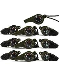 COM-FOUR® 10x 3in1 Mehrzweck Trillerpfeife in Olivgrün, Pfeife, Kompass, Thermometer