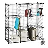 Relaxdays Steckregal Drahtgitter, 9 Fächer, DIY-Regalsystem Metall, offenes Würfelregal, Fächergröße 35 x 35 cm, schwarz