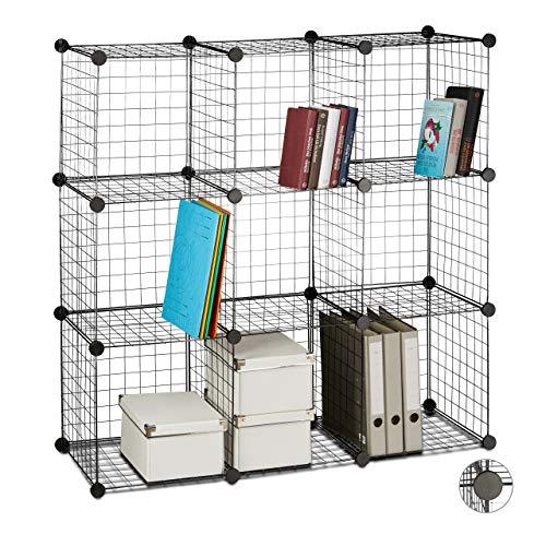 Relaxdays scaffale componibile rete metallica, 9 scomparti, sistema fai da te, scompartimenti a giorno cubici, metallo, nero, 110 x 110 x 36.5 cm ca