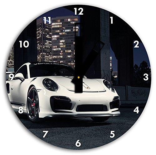 foto de Porsche en el reloj de pared con negro blunt las manos y la cara, de 30 cm de diámetro, decoración perfecta para su hogar, idea regalo estupendo para jóvenes y mayores