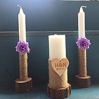 Personalizado boda unidad velas conjunto de 3, rústico boda velas boda ceremonia unidad Vela con flores, color morado