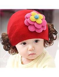 Enfants Bouchon Bonnet en tricot chaud bandeau bandeau perruque Chapeau Princesse Fille Style G