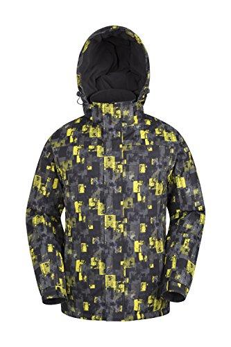 Mountain warehouse shadow giacca da sci uomo, con cappuccio, fodera e polsini e orli regolabili - ideale per vacanze sulla neve giallo m